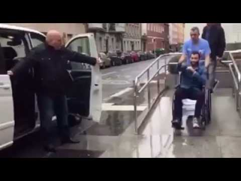 Aleix vidal comes out of hospital in wheel chair.