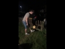 Lad slide tackles his mate doing kick ups
