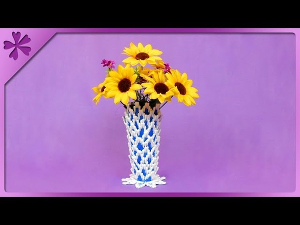 DIY How to make flower vase out of cotton buds ENG Subtitles Speed up 504