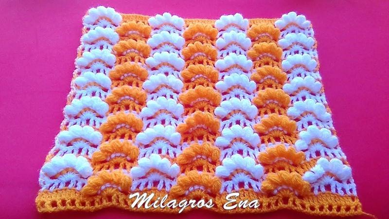 Punto a crochet: Abanicos en puntos Garbanzos para mantitas de bebe paso a paso