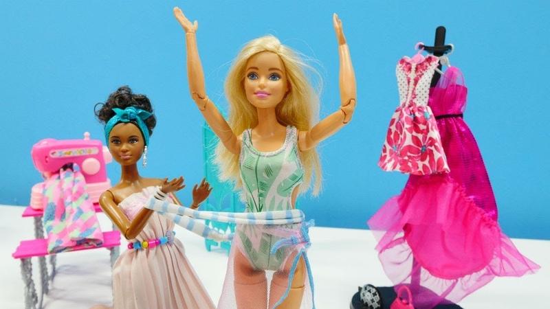 Barbie mayo ve plaj elbisesi diktiriyor. Kız oyun videoları