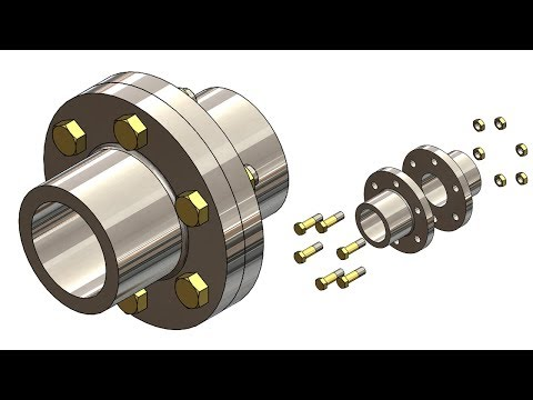 SOLIDWORKS TUTORIAL 33 || Design of Flange coupling assembly in solidworks.