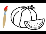 How to Draw ORANGE, PINEAPPLE, WATERMELON and LEMON - Fruits Coloring Pages