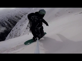Freeride snowboarding in Caucasian backcountry - Gubasanty Mnt. 3400 at Elbrus region