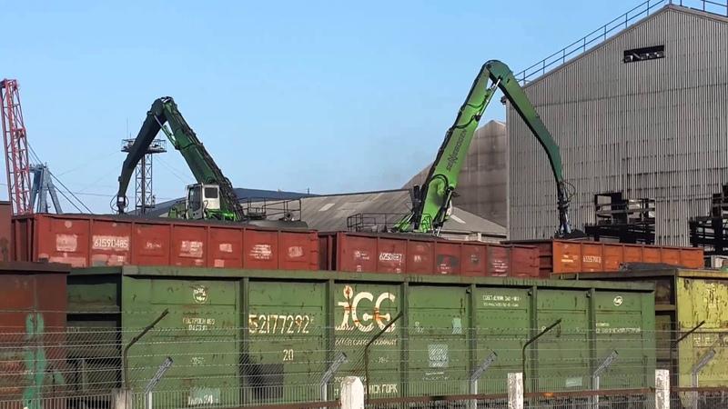 Выгрузка угля из вагонов - портовые грейфера ARDEN BA714