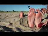 Beach buried feet tickling [HD]