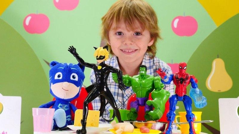 Çizgi film oyuncakları. Süper kahramanlar kahvaltıda ne yiyorlar