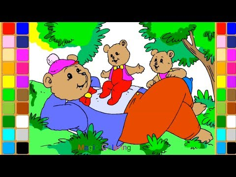 Papa Bear and Cubs Drawing and Coloring Pages for Kids
