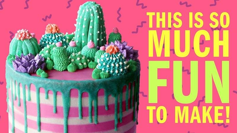 How To Make A Cactus Garden Buttercream Cake For Mothers Day NO FONDANT RECIPE- The Scran Line