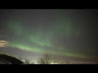 Северные сияния и метеор в 5 км от Мурманска, 9 января 2018 года