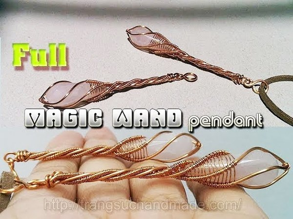 Magic wand pendant with drop stone without holes - full version ( slow ) 336