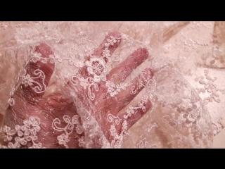 Гипюр паутинка с вышивкой кромка фестон цвет пудра