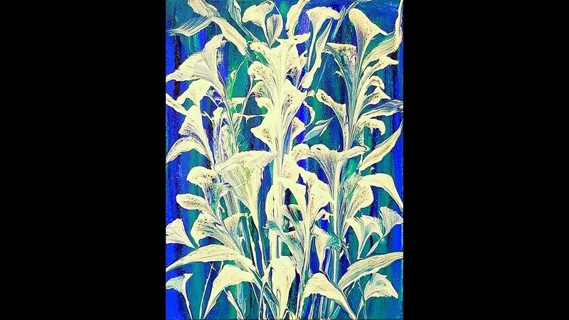 DA66 Blue Acrylic Pour Swipe Blues Background White String Pull w/ Sandra Lett 052918