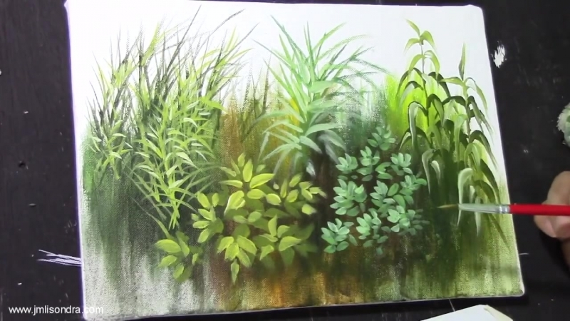 3 Acrylic Painting Lesson - How to Paint Grasses and Other Plants by JMLisondra