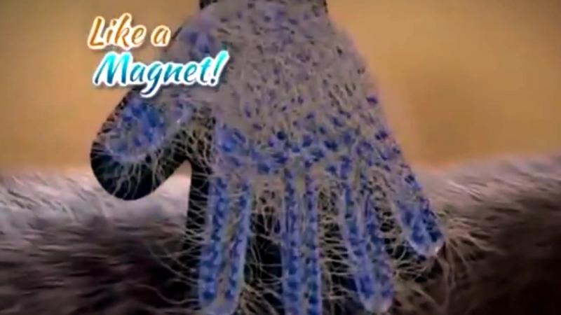 Массажная перчатка для сбора шерсти с домашних животных