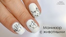 Маникюр с животными Дизайн ногтей гель лаком в черно белом цвете