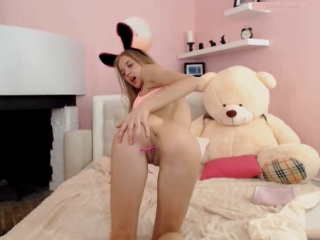 Young blonde fingering pussy on webcam