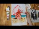 Как нарисовать девушку в платье _ Акварель Akashiya