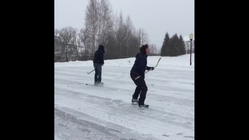 Постоленко и Маракулин играют в хоккей