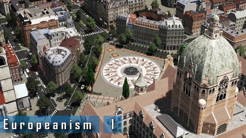 Cities Skylines - E u r o p e a n i s m I - A central plaza main train station