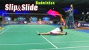 SLIPPING and SLIDING in Badminton Entertaining Moments