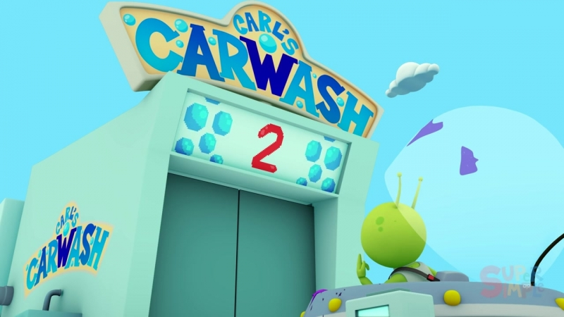Sparkys Spaceship goes through the car wash Cartoon for kids