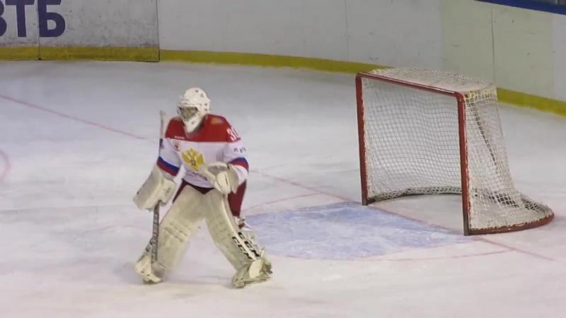 [KHL goalies in action Вратари КХЛ в действии] Amir Miftahov and Vladislav Okoryak pre-game warm-up during Russia-Czech(U17) hoc
