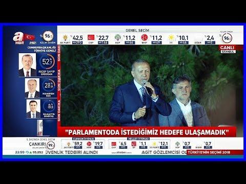 Türkiyenin İlk Başkanı Erdoğanın Huber Köşkünde Halka Hitabı 24.6.2018