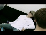 jungkook casually giving jimin vocal advice while being topless