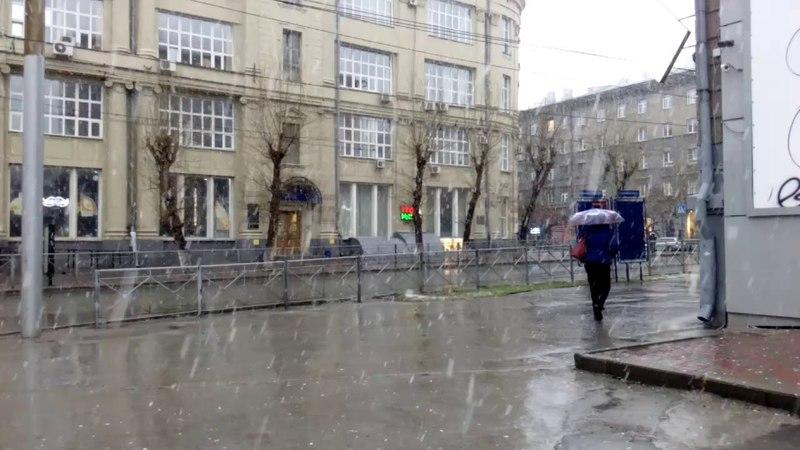 Снегопад на улице Советской (около семи часов утра)