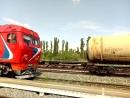 Прибытие пассажирского поезда √379 Москва-Камышин на станцию Камышин 1
