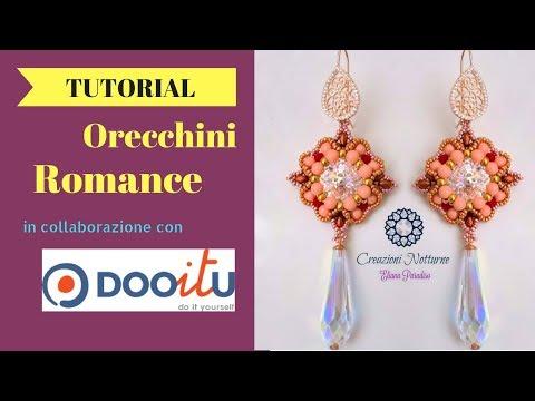 TUTORIAL Orecchini Romance.Collaborazione con DOOITU miniduo,rocaille, rivoli 14 mm, perle 4mm