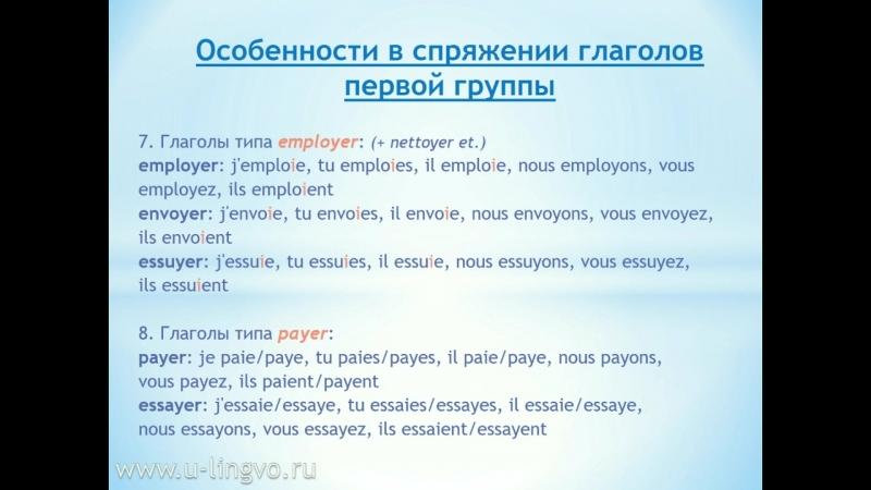 2. Особенности спряжения глаголов 1 группы.