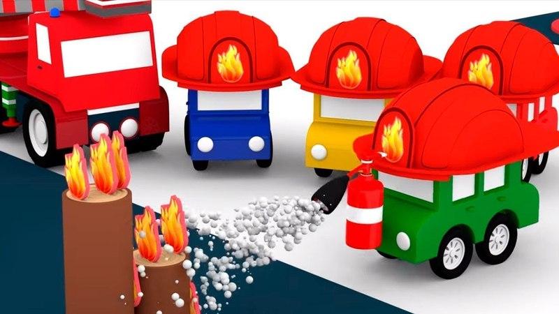 4 coches coloreados. Camiones de bomberos. Dibujos animados.