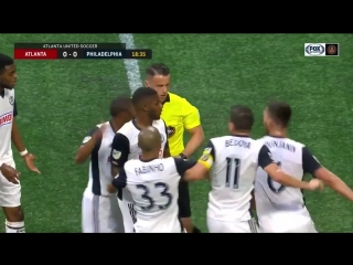 RED CARD: Alejandro Bedoya then Haris Medunjanin are sent off for dissent