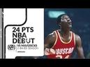 Hakeem Olajuwon 24 pts 9 rebs NBA Debut vs Mavericks 84/85 season