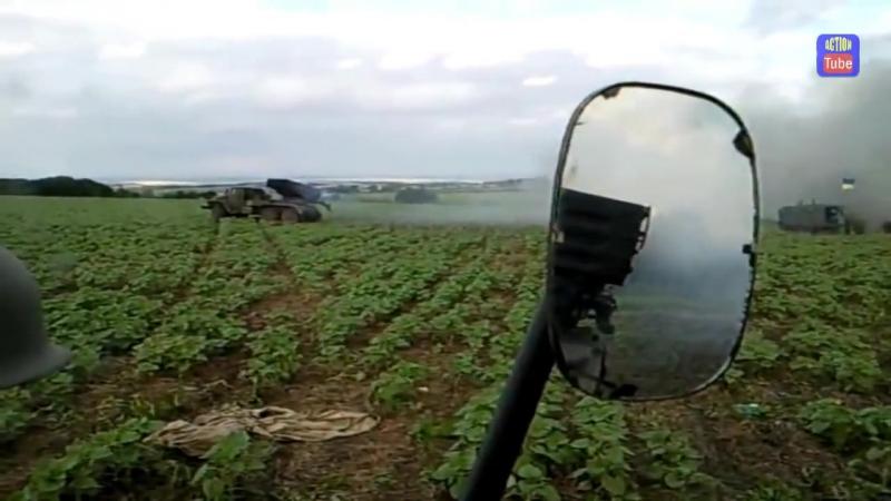 Огонь Града по скоплению боевиков Grad firing at militians