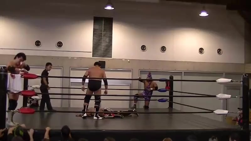Mammoth Sasaki, Toru Sugiura vs. Asosan, Takashi Sasaki (FREEDOMS - Kitakyushu)