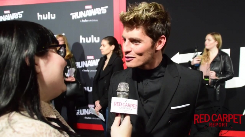 Gregg Sulkin interviewed at the Premiere of Marvels Runaways on Hulu