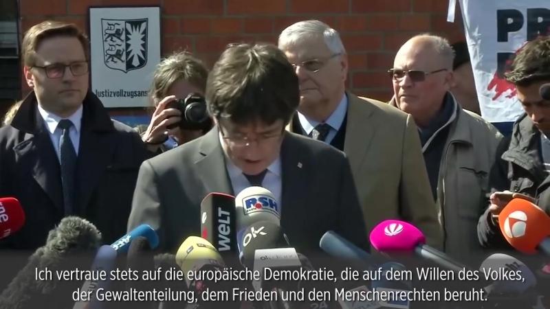 """Nach Freilassung aus Gefängnis- Puigdemont nennt politische Gefangene """"Schande für Europa"""""""