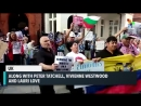 Protest outside the Ecuadorian embassy in London Протест перед Посольством Эквадора в Лондоне Julian Assange Джулиан Ассан