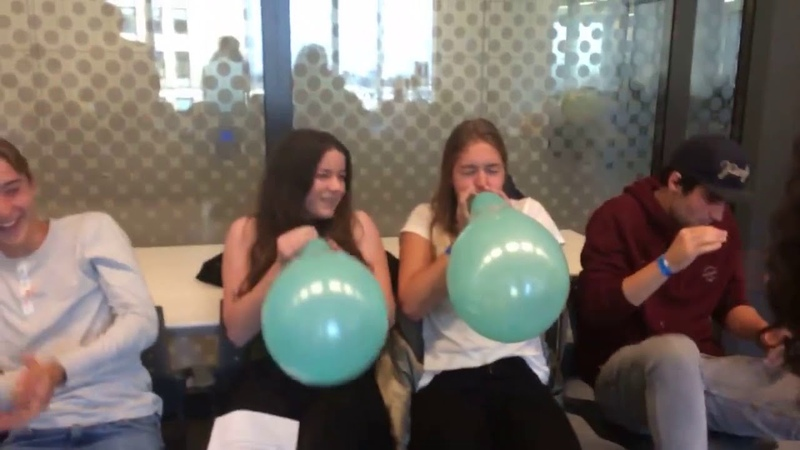 Lots of people do the balloon popping challenge many loud pops at school