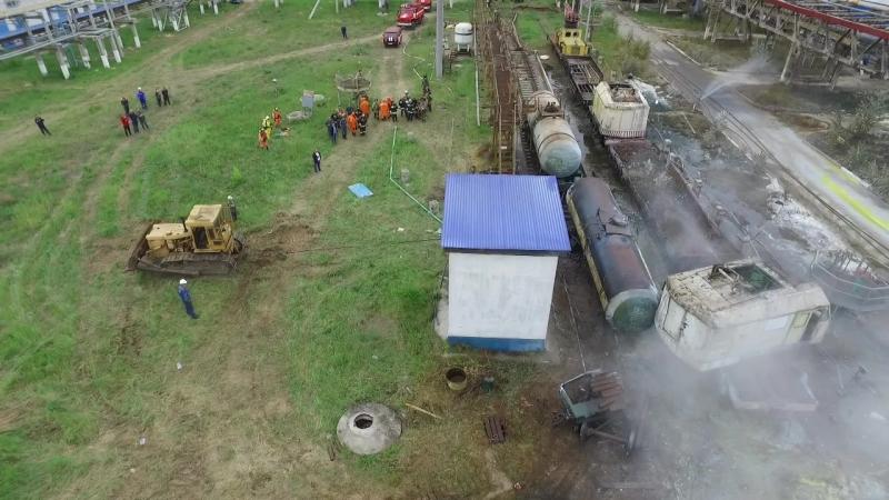 Ликвидация последствий утечки химического вещества из цистерны вблизи города Усолье-Сибирское Иркутской области