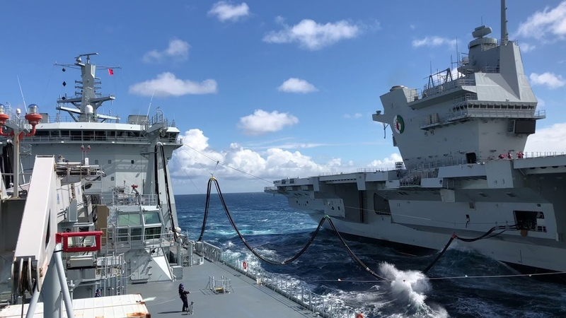 Royal Navy Aircraft Carrier | HMS Queen Elizabeth refuelling at sea