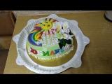 Торт на Юбилей дочери. Начинка: клубника со сливками. Вес: 3 кг с декором
