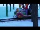 Паровозик в Забаве зимой нлмк мои дети