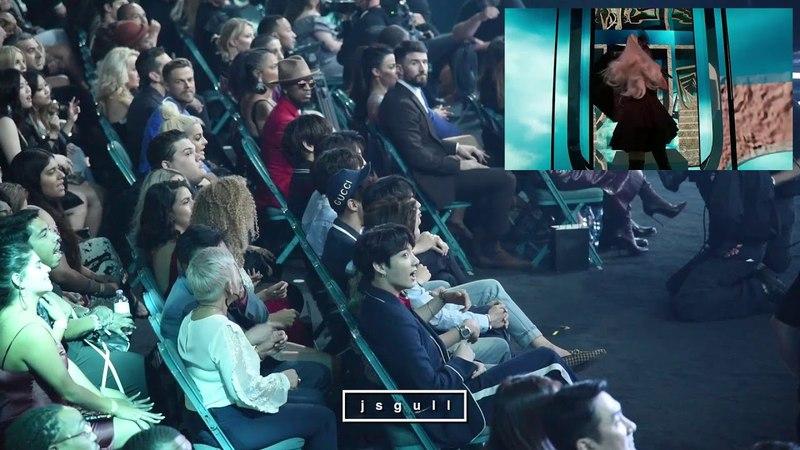 BTS (방탄소년단) Reaction to Ariana performance @ BBMA 2018 [FANCAM]