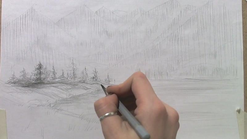 1.4 Рисование пейзажа с использованием коротких и длинных разнонаправленных штрихов,