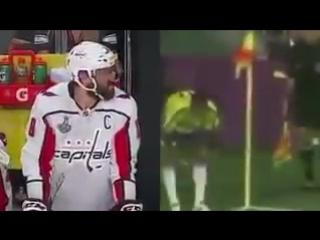 Наглядно разница между хоккеем и футболом. Если непонятно, слева Овечкину в лицо прилетает шайба.mp4