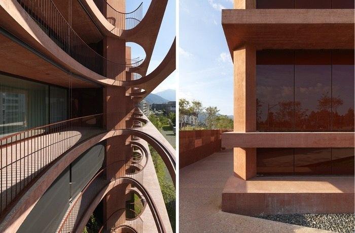 Фактурные фасады: красный бетон в Цуге
